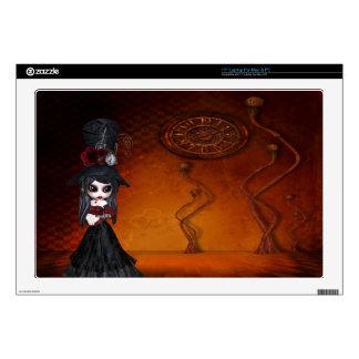 Steampunk Goth Girl & Clock Surreal Laptop Skin