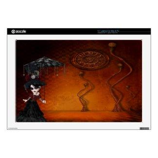 Steampunk Goth Girl & Clock Surreal Laptop Skin musicskins_skin