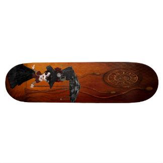 Steampunk Goth Girl & Clock Surreal Skateboard