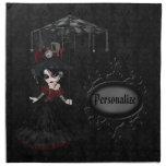 Steampunk Goth Girl Personalized Damask Napkins