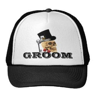 Steampunk gothic gambling skull groom trucker hat