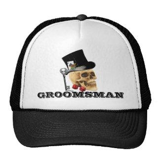 Steampunk gothic gambling skull groomsman trucker hat