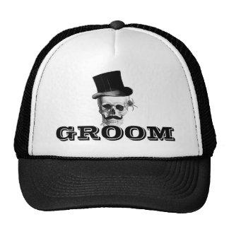 Steampunk gothic groom trucker hat
