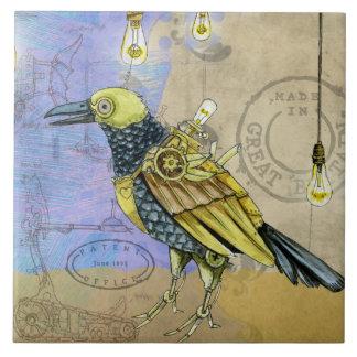 Steampunk Grunge Drawing of Mechanical Bird Tile