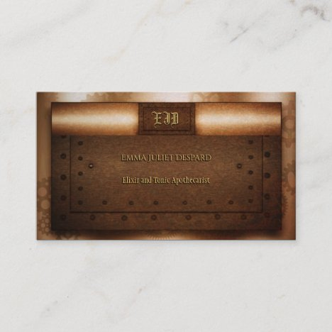 Steampunk grunge riveted brass monogram plates business card