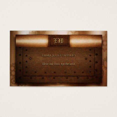 Steampunk grunge riveted brass monogram plates business card