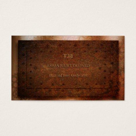 Steampunk grunge rivetted brass business card