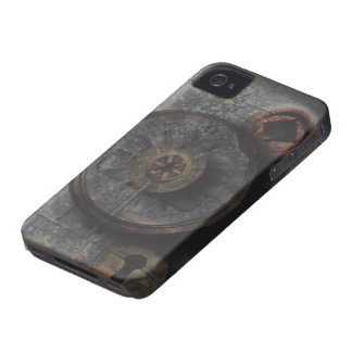 Steampunk Grungy Metal Textured Clock & Lock iPhone 4 Case-Mate Case