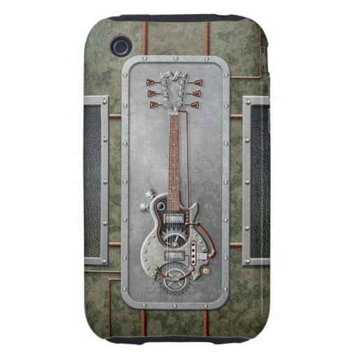 Steampunk Guitar Tough iPhone 3 Cases
