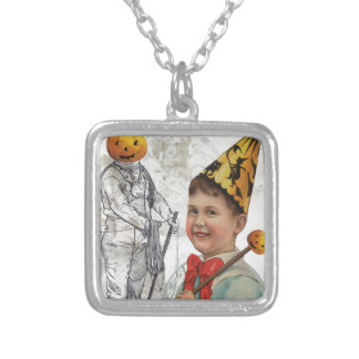 Steampunk Halloween Jack O Latern Diver Square Pendant Necklace