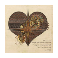 Steampunk Heart & Compass Star Wood Canvas