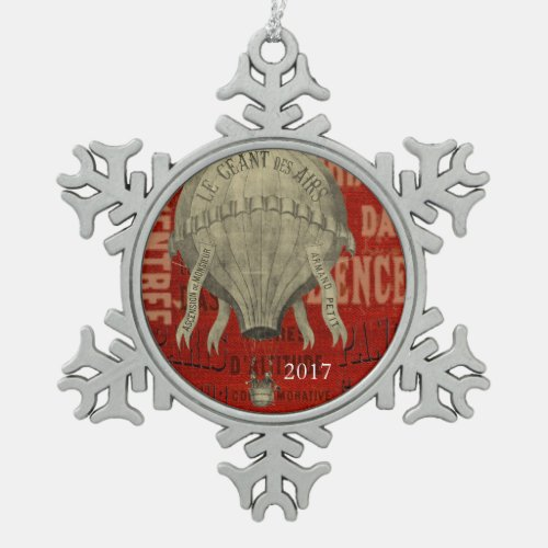 Steampunk Hot Air Ballon Ride Graphic Fonts in Red Snowflake Pewter Christmas Ornament