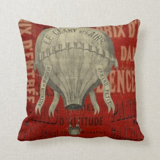 Steampunk Hot Air Ballon Ride Graphic Fonts in Red Throw Pillow