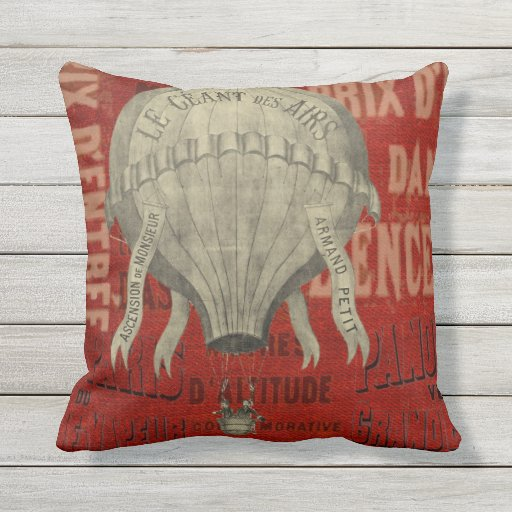 Steampunk Hot Air Ballon Ride Graphic Fonts Outdoor Pillow