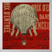 Steampunk Hot Air Ballon Ride Graphic Fonts Poster