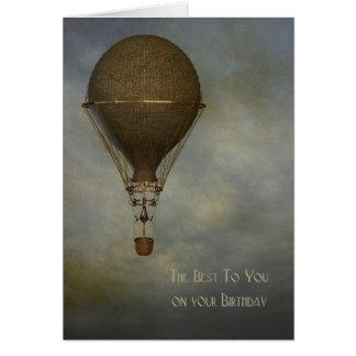 Steampunk, Hot Air Balloon, Birthday Card