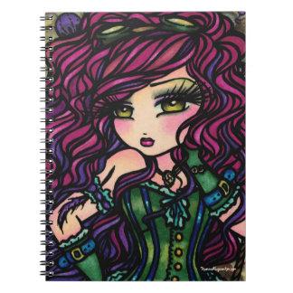 Steampunk Hot Air Balloon Girl Fantasy Art Spiral Notebook