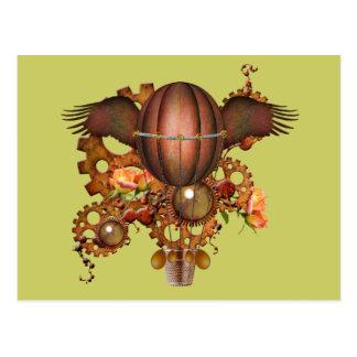 Steampunk Hot Air Balloon Postcard