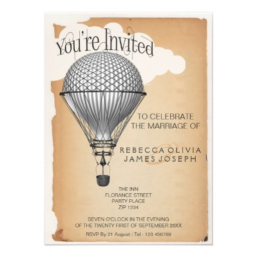Steampunk Hot Air Balloon Reception Party Wedding Personalized Invites