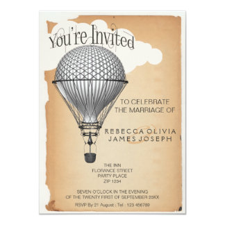 Steampunk Hot Air Balloon Reception Party Wedding Invitation