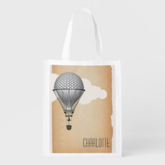 Steampunk Hot Air Balloon Reusable Grocery Bags