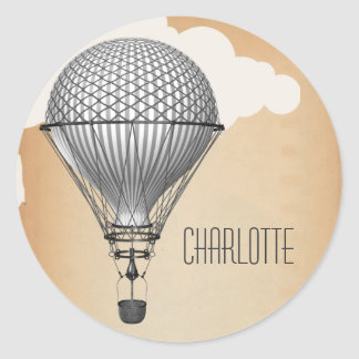 Steampunk Hot Air Balloon Classic Round Sticker