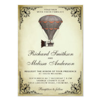 Steampunk Hot Air Balloon Wedding Invitation
