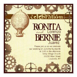 Steampunk hot air balloon wedding template