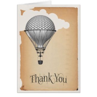 Steampunk Hot Air Balloon Wedding Thank You Stationery Note Card