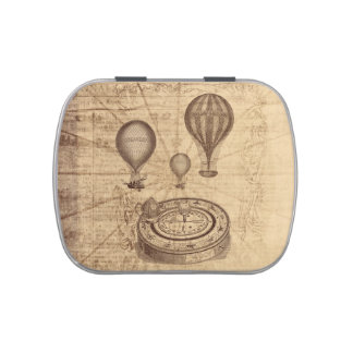 steampunk hot air balloons and compass candy tins