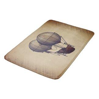 Steampunk Hot Air Balloons with Ship Bath Mat