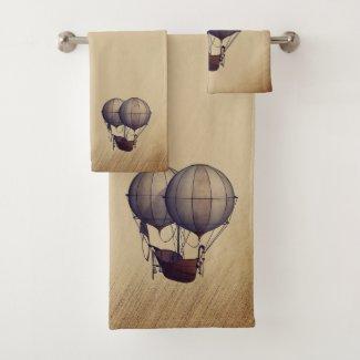 Steampunk Hot Air Balloons with Ship Bath Towel Set
