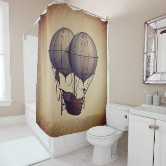 Steampunk Hot Air Balloons with Ship Shower Curtain