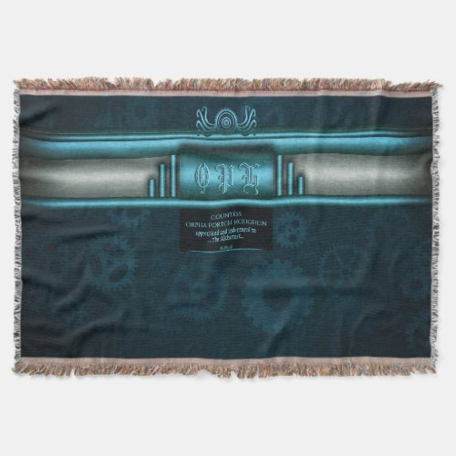 Steampunk, ice-blue and teal, octopus Monogram Throw Blanket