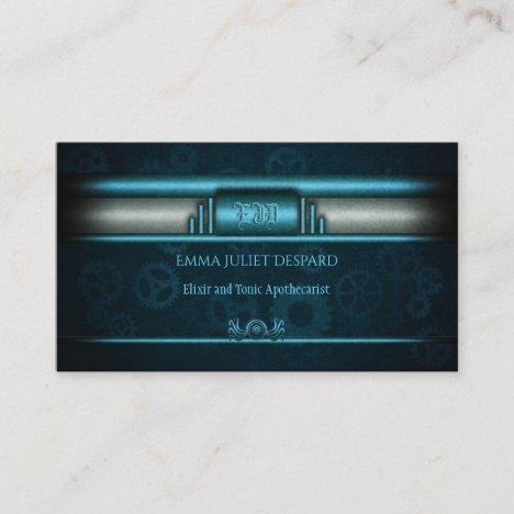 Steampunk, ice blue on teal cogwheels, Monogram Business Card