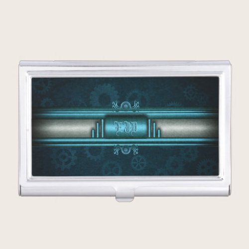 Steampunk, ice-blue on teal gears, Monogram Business Card Case
