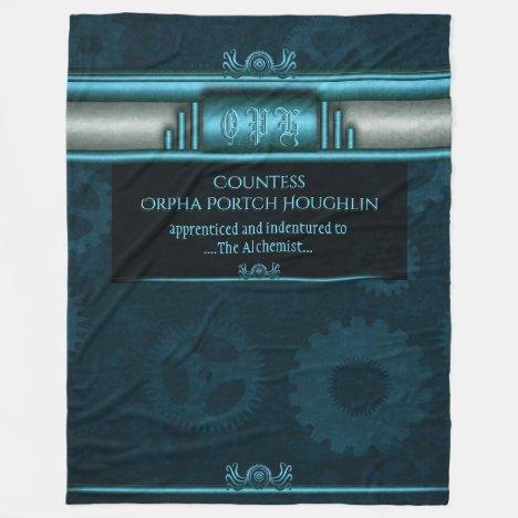 Steampunk, ice-blue on teal sprockets fleece blanket