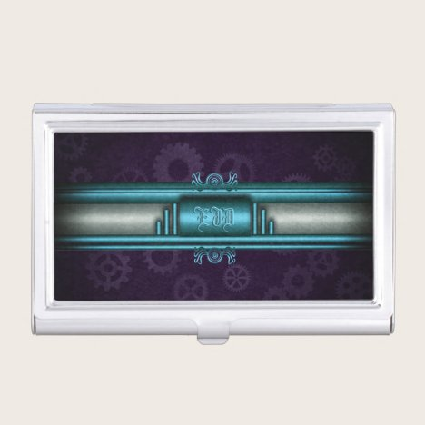 Steampunk, ice blue, purple gears with Monogram Case For Business Cards