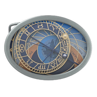 Steampunk in Blue Astronomical Clock Oval Belt Buckle