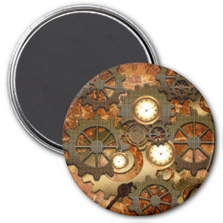 Steampunk in golden colors 3 inch round magnet