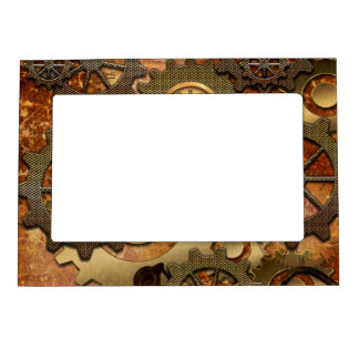 Steampunk in golden colors magnetic picture frame