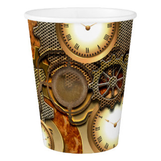 Steampunk in golden colors paper cup