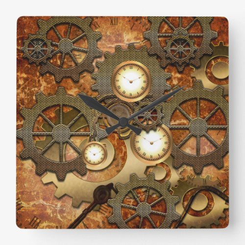 Steampunk in golden colors square wallclock