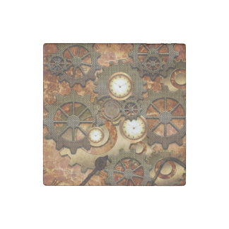 Steampunk in golden colors stone magnet