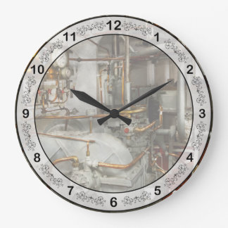 Steampunk - In the engine room Large Clock