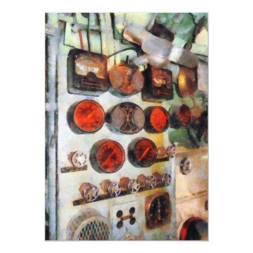 """Steampunk - indicadores en sala de máquinas invitación 5"""" x 7"""""""