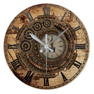 Steampunk Industrial Clock Machinery Vintage Map