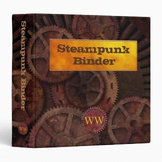 Steampunk Industrial Machinery Gears Monogrammed Binder