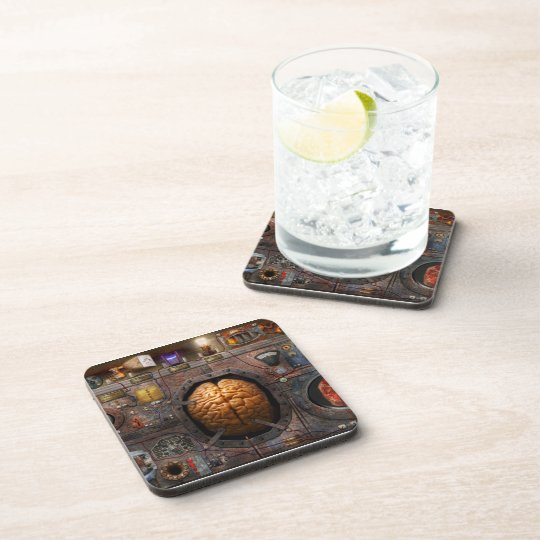 Steampunk - Information overload Beverage Coaster