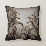 Steampunk Inspired Gas Masks Throw Pillow